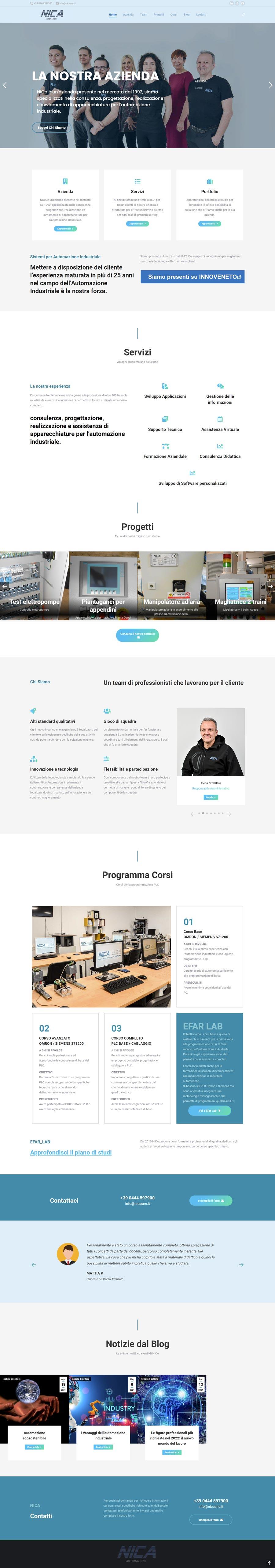 creazione sito web nica automazioni, restyling sito web